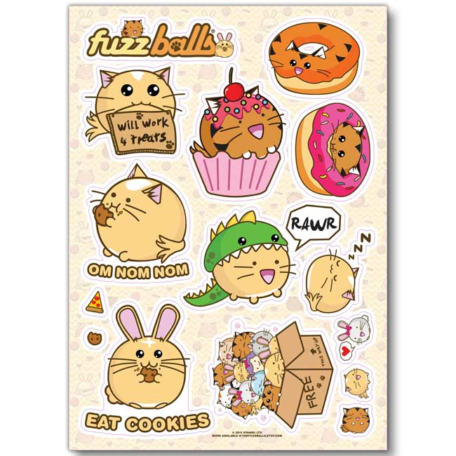 Sku stickers1 categories accessories sticker sheets under 10 pounds tags bunny cat fuzzballs sheet stickers tiger