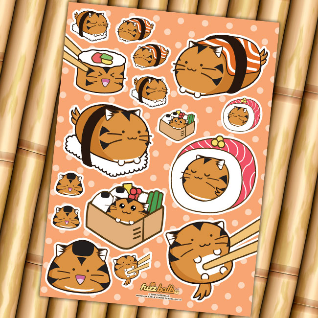 Sku ssushitiger categories accessories sticker sheets under 10 pounds tags adorable cat cute fuzzballs japanese nigiri rice sheet stickers