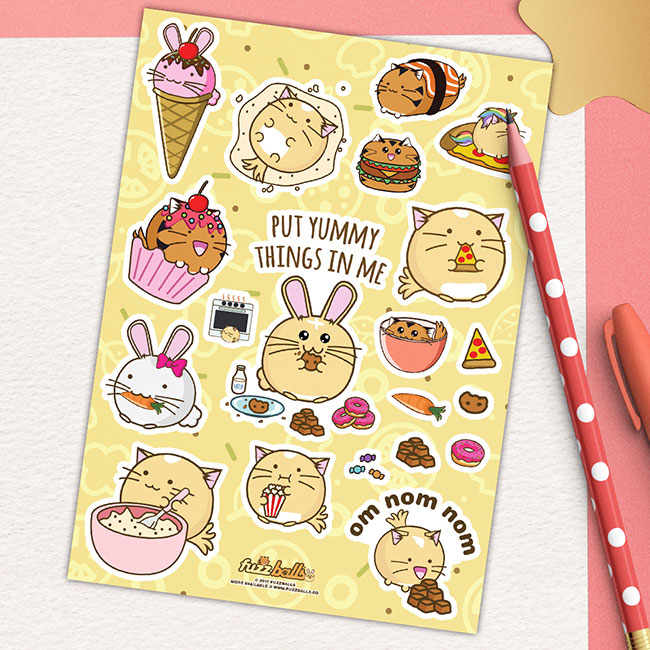 Sku somnomnomfood categories accessories sticker sheets under 10 pounds tags adorable baking bunny burger cat cupcake cute donut fuzzballs